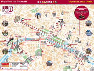 Carte de bus touristique et hop on hop off bus tour des Cars Rouges / Big Bus