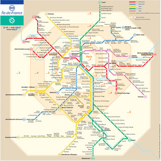 Carte du reseau de train urbain RER de Paris