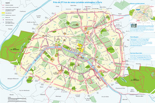 Carte des pistes cyclables de Paris