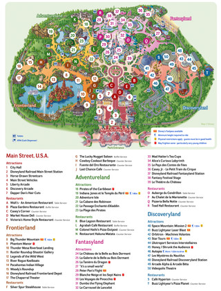 Carte de Disneyland Paris, Disney Land Paris, Eurodisney Paris, Euro Disney Paris